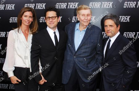Katie McGrath, J.J. Abrams, Sumner Redstone and Brad Grey