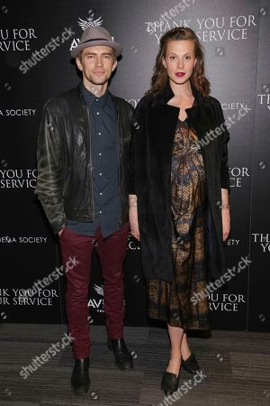"""Caleb Lane, Elettra Wiedemann. Caleb Lane, left, and Elettra Wiedemann attend a special screening of """"Thank You for Your Service"""" at The Landmark at 57 West, in New York"""