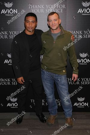 "Beulah Koale, Adam Schumann. Actor Beulah Koale, left, and Army veteran Adam Schumann attend a special screening of ""Thank You for Your Service"" at The Landmark at 57 West, in New York"