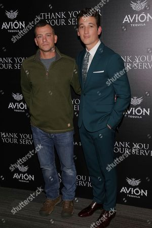 "Adam Schumann, Miles Teller. Army veteran Adam Schumann, left, and actor Miles Teller attend a special screening of ""Thank You for Your Service"" at The Landmark at 57 West, in New York"
