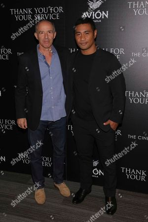 """Jon Kilik, Beulah Koale. Producer Jon Kilik, left, and actor Beulah Koale attend a special screening of """"Thank You for Your Service"""" at The Landmark at 57 West, in New York"""