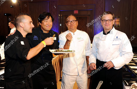 """On, from left, Chefs Marc Forgione, Ming Tsai, Masaharu Morimoto and actor Matt Damon, participate in """"Cooking Live With Chef Ming Tsai and Friends"""" to benefit the Family Reach Foundation and it's mission to help families fighting pediatric cancer in New York"""