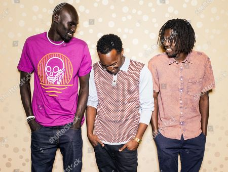 """Ger Duany, Arnold Oceng, and Emmanuel Jal pose for a portrait during press day for """"The Good Lie"""" at Le Montrose Hotel in Los Angeles. The movie opens in the U.S. Friday, Oct. 3, 2014"""