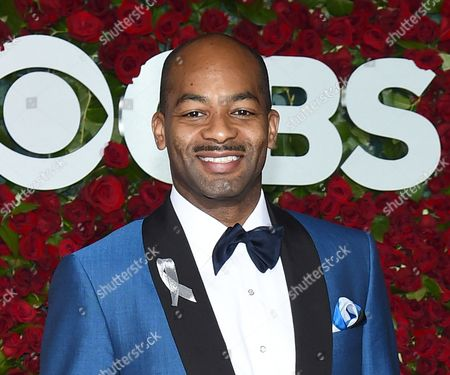 Stock Image of Brandon Victor Dixon arrives at the Tony Awards at the Beacon Theatre in New York. Dixon will replace Tony Award-winner Leslie Odom Jr. as Aaron Burr on Broadway in the smash hit Hamilton, and Lexie Lawson will take over from Phillipa Soo as Eliza Schuyler