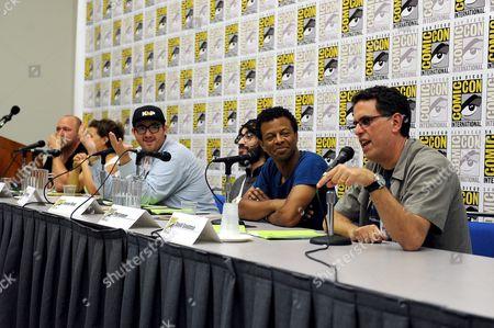 "From left, Will Sasso, Justina Machado, Peter Atencio, creator Jason Ruiz, Phil Lamarr and creator David A. Goodman attend the FOX ""Murder Police"" panel on Day 2 of Comic-Con International on in San Diego, Calif"