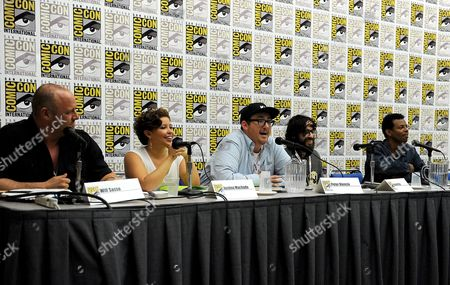 """From left, Will Sasso, Justina Machado, Peter Atencio, creator Jason Ruiz and Phil Lamarr attend the FOX """"Murder Police"""" panel on Day 2 of Comic-Con International on in San Diego, Calif"""