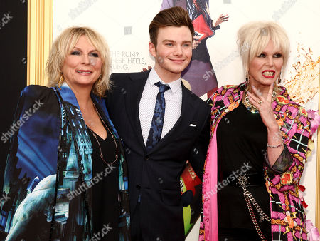 """Chris Colfer, center, with Jennifer Saunders, left, and Joanna Lumley, attends the premiere of """"Absolutely Fabulous: The Movie"""" at the SVA Theatre, in New York"""