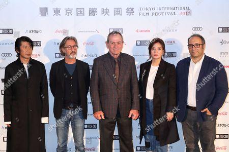 (L-R) Masatoshi Nagase, Martin Provost, Victoria Jones, Tommy Lee Jones, Vicki Zhao, Reza MirKarim