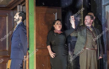 Juan Sancho as Grimoaldo, Rebecca Evans as Rodelinda, Neal Davies as Garibaldo,