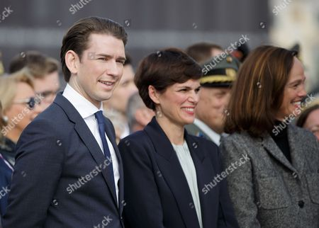 Stock Photo of (L-R) Austrian Foreign Minister Sebastian Kurz, Health Minister Pamela Rendi-Wagner and Education Minister Sonja Hammerschmid attend the celebrations on Austrian National Day (Nationalfeiertag) on Heldenplatz square in Vienna, Austria, 26 October 2017.