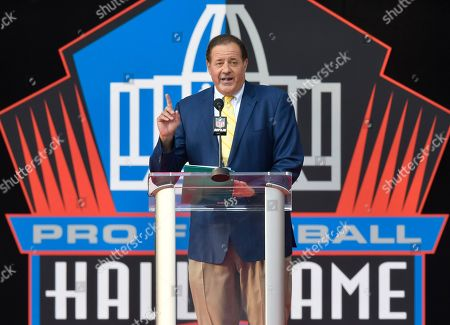 ESPN broadcaster Chris Berman hosts an induction ceremony at the Pro Football Hall of Fame, in Canton, Ohio