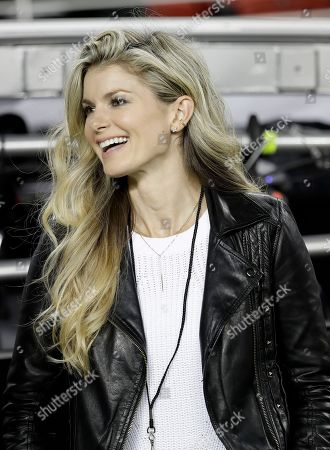 Stock Image of Model Marisa Miller is shown at an NFL football game between the San Francisco 49ers and the Los Angeles Rams in Santa Clara, Calif