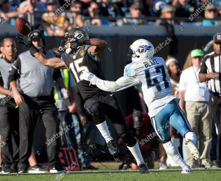 Jacksonville Jaguars wide receiver Allen Robinson (15) tries to make a reception in front of Tennessee Titans defensive back Valentino Blake (47) during the second half of an NFL football game, in Jacksonville, Fla