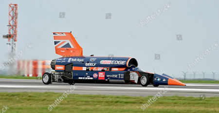 Editorial picture of Testing the Supersonic car Bloodhound SSC at Newquay Airport in Cornwall, United Kingdom - 26 Oct 2017