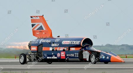 Editorial photo of Testing the Supersonic car Bloodhound SSC at Newquay Airport in Cornwall, United Kingdom - 26 Oct 2017
