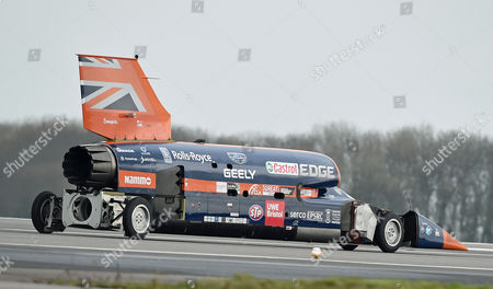 The Supersonic car Bloodhound SSC taxis on the runway during a test session at Newquay Airport, Cornwall, Britain 26 October 2017. Driven by world landspeed record holder and fighter pilot Andy Green, the Bloodhound SSC reaches 200mph in five seconds during the testing. Designed by 87-year old aerodynamisist Ron Ayers in collaboration with Richard Noble of Thrust 2 fame, the Bloodhound is predicted to reach 1000mph in landspeed record attempt, on the Hanskeen Pan desert in South Africa.