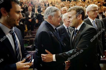 Stock Image of Jean Louis Beffa, Emmanuel Macron