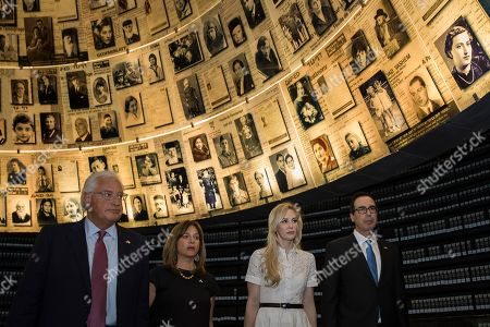 United States Secretary of the Treasury Steven Mnuchin and his wife Louise Linton, on the right, and U.S. ambassador to Israel David Friedman and his wife Tammy Deborah Sand visit Yad Vashem Holocaust memorial in Jerusalem, Thursday, Oct, 26, 2917