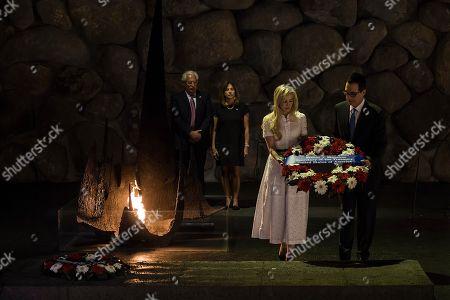 United States Secretary of the Treasury Steven Mnuchin and his wife Louise Linton lay a wreath Yad Vashem Holocaust memorial accompanied by U.S. ambassador to Israel David Friedman and his wife Tammy Deborah Sand visit in Jerusalem, Thursday, Oct, 26, 2917