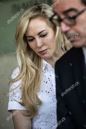 In this Thursday, Oct, 26, 2917 photo, United States Secretary of the Treasury Steven Mnuchin and his wife Louise Linton, visit Yad Vashem Holocaust memorial in Jerusalem