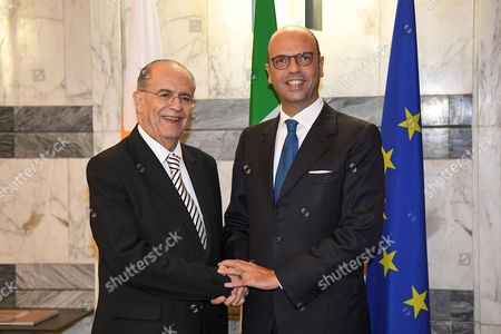 Italian Foreign Affairs Minister Angelino Alfano (R) welcomes his Cypriot counterpart Ioannis Kasoulides in Rome, Italy, 26 October 2017. Kasoulides is on an official visit to Rome.