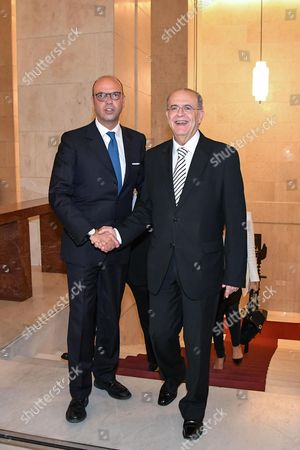 Italian Foreign Affairs Minister Angelino Alfano (L) welcomes his Cypriot counterpart Ioannis Kasoulides in Rome, Italy, 26 October 2017. Kasoulides is on an official visit to Rome.