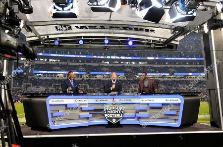 James Brown, Bill Cowher, Deion Sanders. James Brown, from left, Bill Cowher and Deion Sanders sit on the Thursday Night Football stage during halftime of an NFL football game between the Baltimore Ravens and the Miami Dolphins, in Baltimore