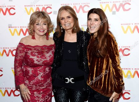 Pat Mitchell, Gloria Steinem, Marisa Tomei. Pat Mitchell, left, Gloria Steinem and Marisa Tomei attend The Women's Media Center 2017 Women's Media Awards at Capitale, in New York
