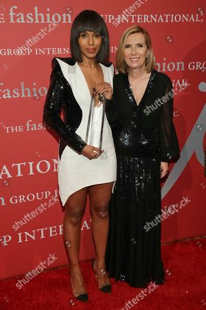 "Kerry Washington, Liz Rodbell. Lord & Taylor Fashion Oracle award recipient Kerry Washington, left, and presenter/president of Lord & Taylor Liz Rodbell pose during The Fashion Group International's ""Night of Stars"" gala at Cipriani Wall Street on Thursday, Oct. 26, in New York"