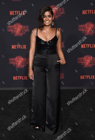 """Linnea Berthelsen arrives at the premiere of """"Stranger Things"""" season two at the Regency Bruin Theatre, in Los Angeles"""