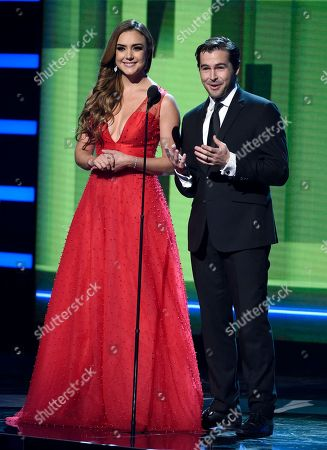 Ana Belena, Julio Vaqueiro. Ana Belena, left, and Julio Vaqueiro appear on stage at the Latin American Music Awards at the Dolby Theatre, in Los Angeles