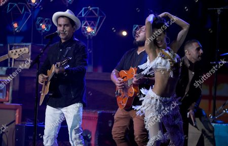 Jose Javier Freire, Jorge Villamizar, Andre Lopes. Jorge Villamizar of Bacilos performs at the Latin American Music Awards at the Dolby Theatre, in Los Angeles