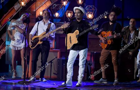 Jose Javier Freire, Jorge Villamizar, Andre Lopes. Bacilos performs at the Latin American Music Awards at the Dolby Theatre, in Los Angeles