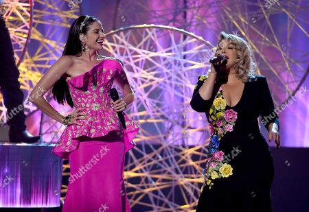 Natalia Jimenez, Chiquis Rivera. Natalia Jimenez, left, and Chiquis Rivera perform at the Latin American Music Awards at the Dolby Theatre, in Los Angeles
