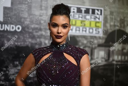 Anabelle Acosta poses backstage at the Latin American Music Awards at the Dolby Theatre, in Los Angeles