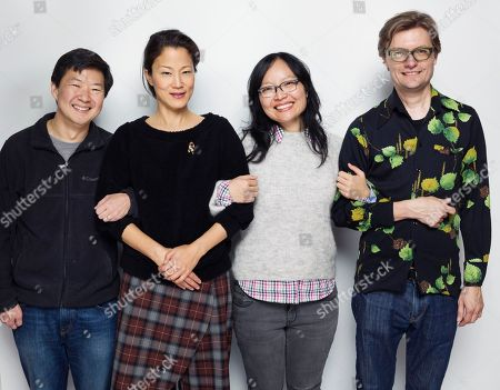 """Producer/actor Ken Jeong, writer/actor Jacqueline Kim, director/wrtier Jennifer Phang and James Urbaniak pose for a portrait to promote the film, """"Advantageous"""", at the Eddie Bauer Adventure House during the Sundance Film Festival, in Park City, Utah"""