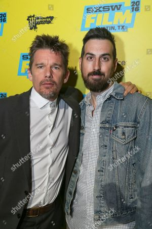 "Ethan Hawke, left, and director Ti West are seen at the world premiere of their film ""In A Valley of Violence"" at the Stateside Theatre during the South by Southwest Film Festival, in Austin, Texas"