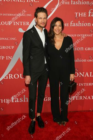 "Uri Minkoff, Rebecca Minkoff. Honorees Uri Minkoff, left, and Rebecca Minkoff attend The Fashion Group International's ""Night of Stars"" gala at Cipriani Wall Street on Thursday, Oct. 26, in New York"