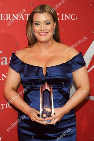 """Beauty Award recipient Jamie Kern Lima poses during The Fashion Group International's """"Night of Stars"""" gala at Cipriani Wall Street on Thursday, Oct. 26, in New York"""