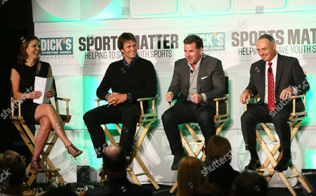 Pictured from left to right, ESPN commentator and panel moderator, Hannah Storm, four-time Super Bowl winning Quarterback of the New England Patriots, Tom Brady, CEO of Under Armour, Kevin Plank, and MLB Commissioner, Rob Manfred, discuss their unique path to success in sports and business during the DICK'S Sporting Goods Foundation world film premiere and panel discussion at The Conrad Hotel in New York, in New York