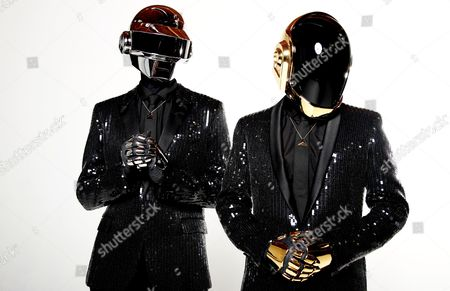 Thomas Bangalter, left, and Guy-Manuel de Homem-Christo, from the music group, Daft Punk, pose for a portrait in Los Angeles. Daft Punk has five nominations at Grammy Awards, including album of the year for Random Access Memories and record of the year for Get Lucky.â