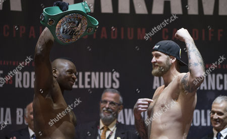 Dillian White, left, and Robert Helenius during the weigh in at the Motorpoint Arena ahead of their WBC Silver Heavyweight