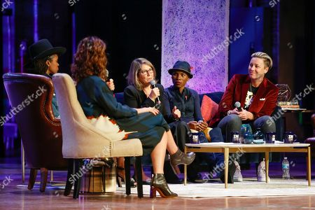 Latham Thomas, Jennifer Rudolph Walsh, Elizabeth Lesser, Luvvie Ajayi, Abby Wambach. From left to right, Latham Thomas, author, Jennifer Rudolph Walsh, WME Entertainment's Worldwide Literary Department director, Elizabeth Lesser, Omega Institute co-founder, Luvvie Ajayi, writer, and Abby Wambach, U.S. Soccer star, are seen on stage at Together Live in Philadelphia at The Academy of Music