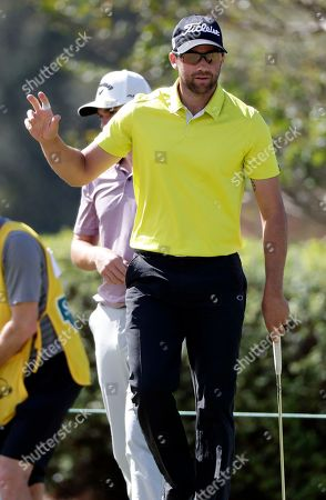 Ben Silverman waves to the audience after making a birdie on the fifth hole during the second day of the Sanderson Farms Championship golf tournament in Jackson, Miss