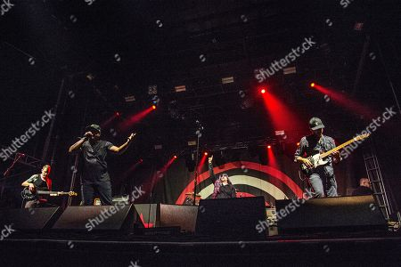 Tim Commerford, Chuck D, B-Real, Tom Morello. Tim Commerford, from left, Chuck D, B-Real and Tom Morello of Prophets of Rage perform at the Voodoo Music Experience in City Park, in New Orleans