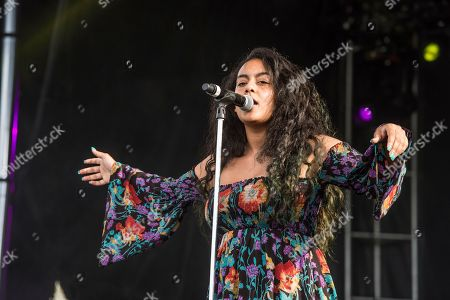 Stock Image of BiBi Bourelly performs at the Voodoo Music Experience in City Park, in New Orleans