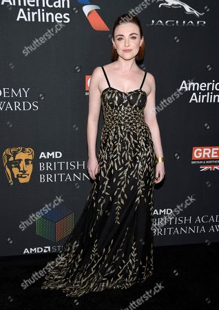 Cassie Compton arrives at the BAFTA Los Angeles Britannia Awards at the Beverly Hilton Hotel, in Beverly Hills, Calif