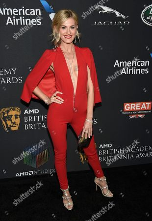 Marah Fairclough arrives at the BAFTA Los Angeles Britannia Awards at the Beverly Hilton Hotel, in Beverly Hills, Calif