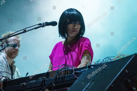 Nancy Whang of LCD Soundsystem performs at the Voodoo Music Experience in City Park, in New Orleans