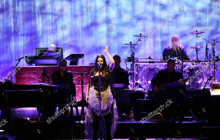 Stock Photo of Amy Lee, Tim McCord, Will Hunt, Troy McLawhorn, Jen Majura. Amy Lee, Tim McCord, Will Hunt, Troy McLawhorn and Jen Majura with Evanescence performs at Chastain Park Amphitheatre, in Atlanta